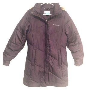 Columbia plum puff quilted long hooded coat small